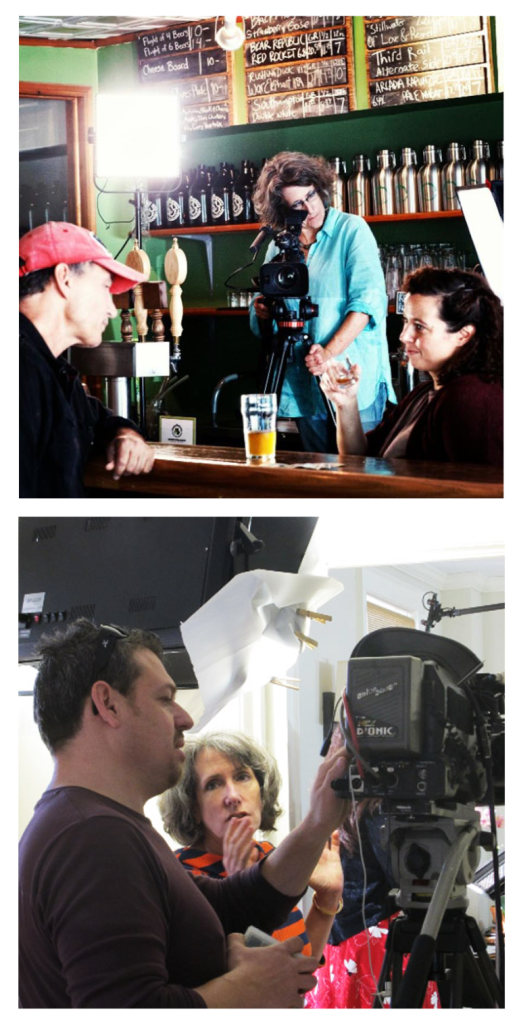 Molly Williamson filming at the Green Growler, Croton-On-Hudson, NY